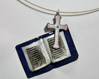 Bible Necklace / Enamel Christian Jewelry / Religious Necklace