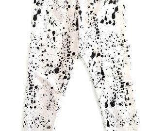 Black Ink Splatter Leggings Organic Baby White Girls Boys