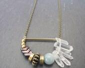 Shine A Light Necklace //  Quartz, Chevron, Geometric Necklace // Geometric Necklace // Geometric Jewelry