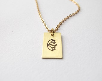 Golden Lotus Necklace // 14kt Gold Chain Engraved Necklace // Flower Necklace // Hand-Stamped Necklace // Yoga Necklace // Yoga Jewelry