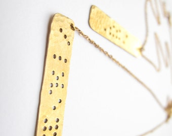 Braille Inspired Necklace // Word/Phrase Choice // Engraved Necklace // Hand-Stamped Necklace // Braille Necklace // Name Jewelry
