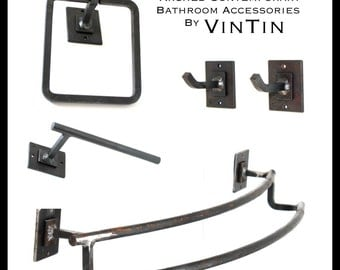 DISCOUNT Blacksmith Hand Forged Iron Steel Metal 5 Piece SET of Arched Contemporary Simple Sleek Bathroom Set by VinTin (Item # D-1123)