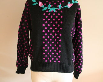 Vintage 80's/90's Dot and Roses Floral Knit Pullover Sweater- Size Medium - Pullover- Urban- Hipster - Kawaii