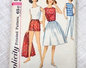 Simplicity 4948 Bust 34 Vintage pattern Cigarette pants Rockabilly Full Skirt Play Suit Cropped Shell High Waist Shorts Overskirt 1960s