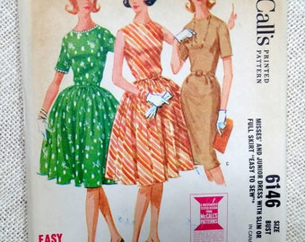 Vintage Pattern McCall's 6146 dress sewing Full skirt 1960s Rockabilly Bust 34 Uncut Fit and Flare wiggle dress Fitted  Bodice