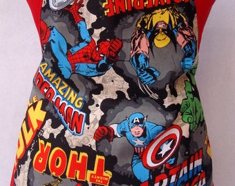 Kids Apron Marvel Comics Spider Man Wolverine Hulk Captain America Thor Holiday Birthday Gift for Him