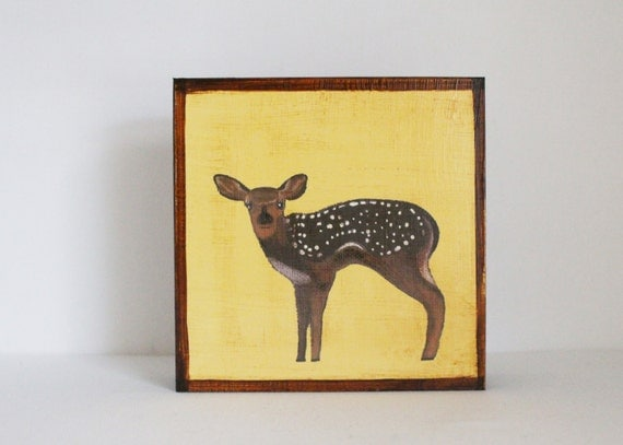 woodland nursery art, forest nursery, deer art for nursery- 5x5 art block- woodland nursery- kid room decor- yellow wall art- redtilestudio
