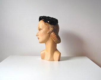 SALE vintage 1950s hat / black sequins vintage hat