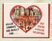 Valentine's Day Card Zombie Art Retro Valentine Vintage Card Geekery Alternate Histories Living Dead
