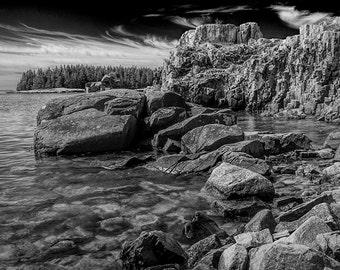 Shoreline Rock Formations in Acadia National Park on Mount Desert Island in Maine No.BW075 A Fine Art Seascape Flower Photograph
