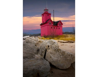 Big Red Lighthouse in Holland Michigan at Sunset by Ottawa Beach State Park on Lake Michigan No.173 A Lighthouse Photograph