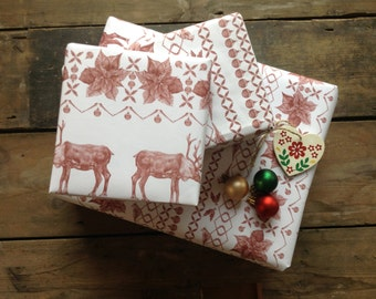 Wrapping Paper Set in Christmas Sweater print // Gift Wrap - Christmas gift wrap - Christmas Reindeer - Gift Wrap Pack - Wrapping Paper