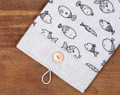 60% OFF Winter SALE White Linen iPad Case with fish print pocket and button closure. Padded Cover for iPad 1 2 3 4. iPad Sleeve Bag.