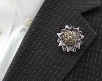 Small Lapel Flower, Men's Lapel Pin, Mens Lapel Flower, Gray Lapel Flower Pin, Flower Lapel Pin for Men, Gift for Him, Mens Accessories