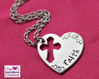 Faith hand stamped heart cross necklace