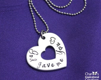 God Gave Me You hand stamped necklace