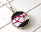 Nautical Striped Necklace With Embroidered Heart Knot Design - Circle Pendant Version
