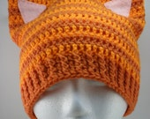 Kitty Cat Ears Beanie - Ginger Orange Tabby Stripes with Pink Ears - MADE TO ORDER
