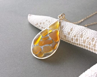 Amber Sea Glass Necklace, Beach Glass Pendant, Mosaic, Stained Galss Window, Golden Brown, Genuine Sea Glass, Resin Pendant