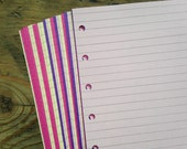 Lined Notepaper inserts - Fits Filofax or Organiser - pink and purple - A5/personal/pocket/mini