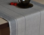 Table Runner Striped Linen Runner Natural Linen With Gray Table Decor Linen Runner