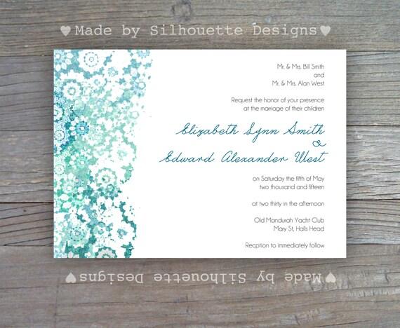 Wedding, Bridal Shower, Engagement Party Invitation, Vintage Wedding-Blue Lace-Digital Printable File OR Professionally Printed Cards
