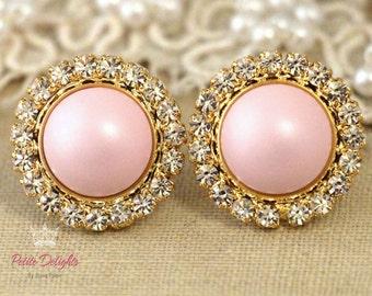 Pink Earrings,Pink Powder Earrings,Swarovski Pink Crystal Earrings,Bridesmaids Pink Earrings,Bridal Cotton Candy Earrings,Gift for her