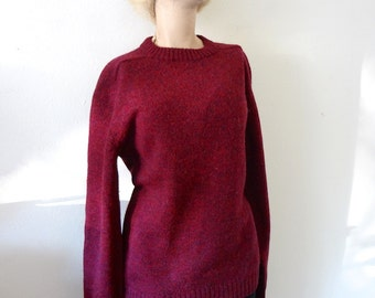 1960s Wool Sweater - boysenberry crew neck jumper - vintage fall & winter fashion