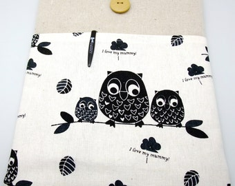 """11"""" 12"""" 13"""" Macbook Pro case, Macbook Air cover, Surface RT Pro, iPad Pro, Custom tablet sleeve with 1 pocket PADDED - Black owls"""