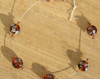 Float - autumn lampwork bead necklace