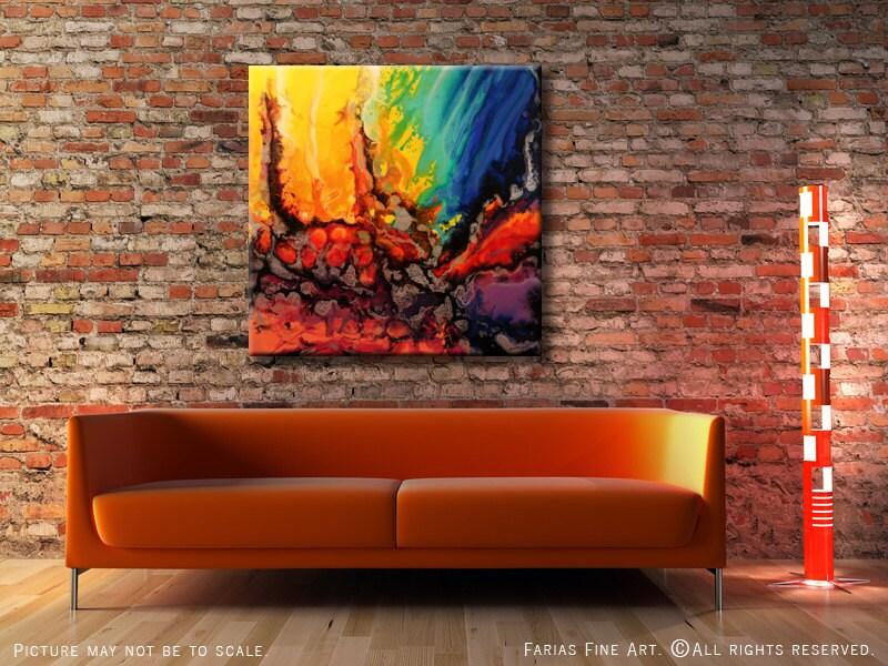 36 x 36 original carr de peinture abstraite moderne color e - Peinture carre couleur ...