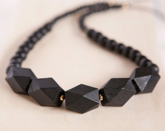 BLACK Wooden Geometric Bead Necklace -  Geometric Necklace - Black with Gold accents