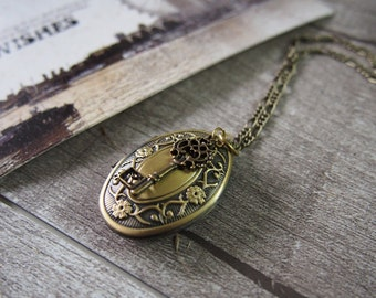 Brass Locket Pendant Key Locket Pendant Locket Necklace Gothic Locket Brass Necklace 7300