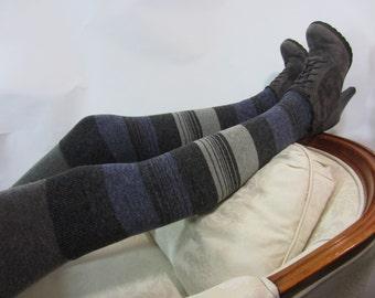 Linen Stripe Thigh High Socks For Women Leg Warmers Purple / Gray Striped Over the Knee Socks Boot Socks A1346