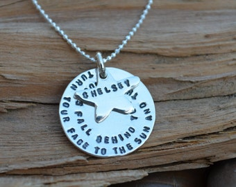 Personalized Disc Necklace with Tiny Heart or Star Charm - Sterling Silver - Daughter, Sister , Best Friend, Sweet 16, 21st Birthday Gift