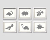 Dinosaur Nursery Girl Boy Baby Wall Art Polka Dot Grey Yellow more colors available set of 6