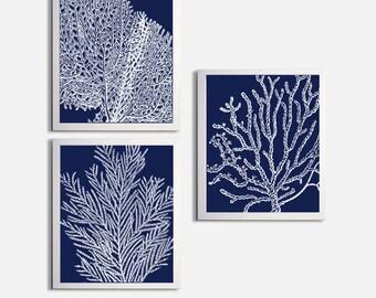 Coral Ocean Beach Sea Prints Navy Custom Colors set of 3