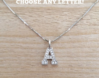 Diamond Letter Necklace, Gold Capital Letter With Diamonds, Upper Case Diamond Letter Pendant, Initials Necklace, Diamond Initials necklace