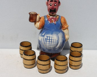 Vintage Bartender Liquor Whiskey Dispenser Barrel Shot Glasses Ceramic Japan