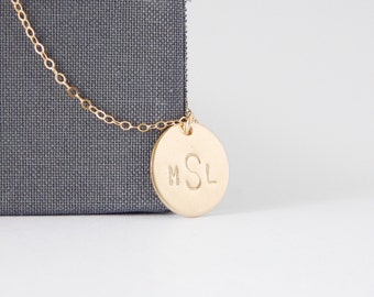 Personalized Monogram Disc Layering Necklace - Hand Stamped Initial Pendant, Minimalist, Wedding Jewelry, Bridesmaid Gift, Gifts For Her