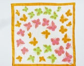 Vintage Handkerchief Unused Burmel Original Pink Green Orange Butterflies White Background Orange Edge 15 X 15 Inches Semi Sheer Linen