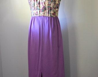 Vintage Evening Dress 1970s Gold Lame Top with Long Purple Lavender Skirt Taffeta Lining Size Medium Vintage Dress Damaged Great for Costume