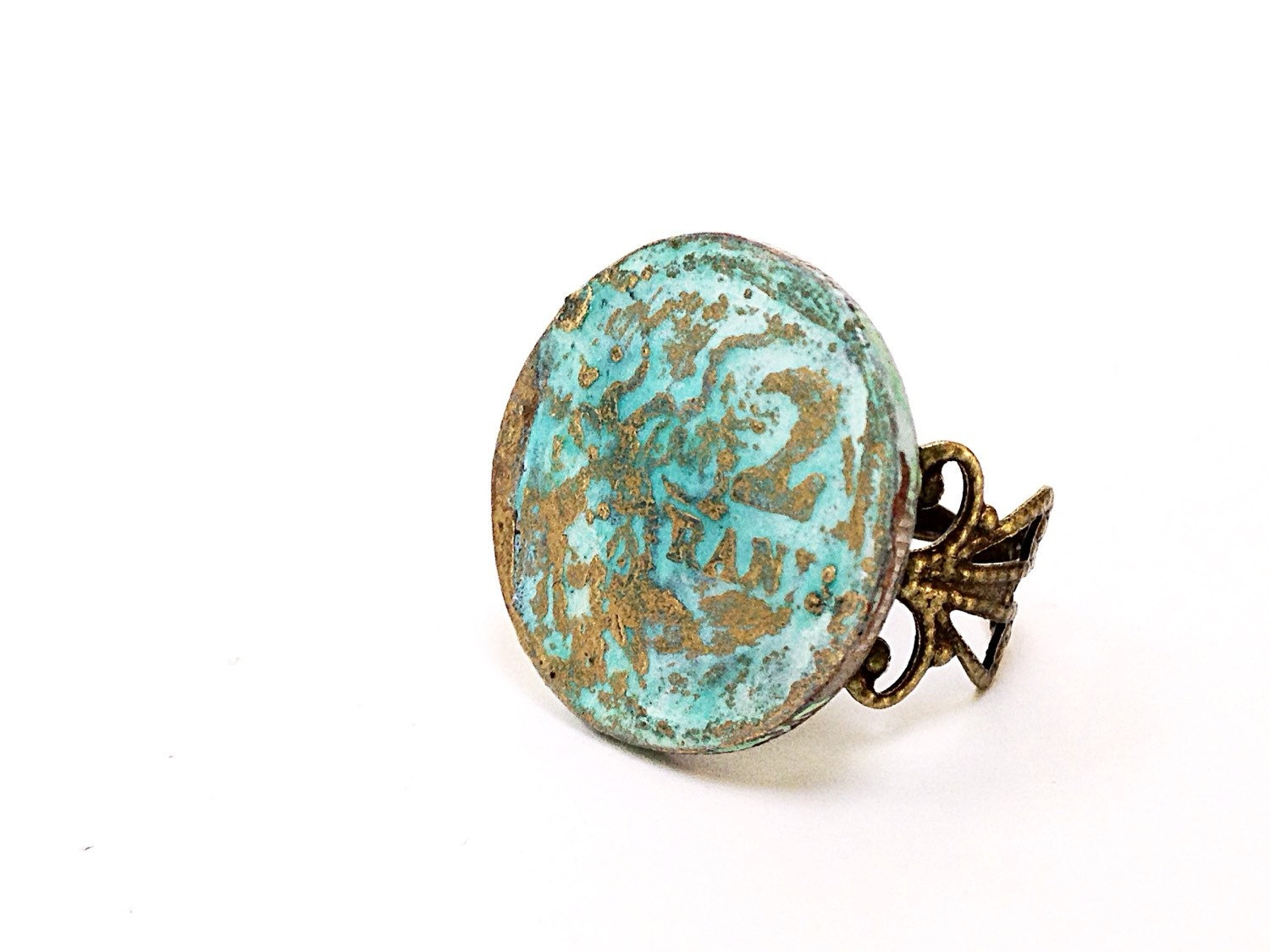 boho ring turquoise boho ring coin jewelry by humblebeeproject
