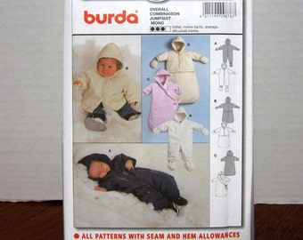 UNCUT OOP Burda 9876 Sewing Pattern Infant Babies Loose Fitting Jumsuit Snowsuit Overall & Bunting Sizes 1m - 18m With Factory Folds