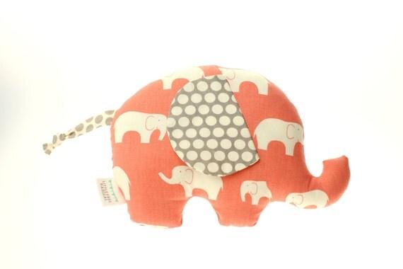 Mod Basics Elephant  - Small Softie - Eco-friendly Edition - Coral & Grey
