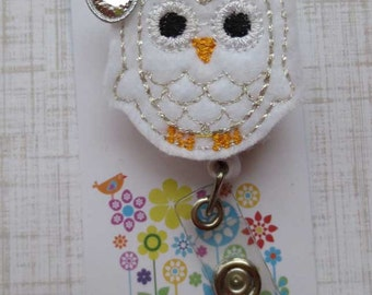 White and Silver Owl Badge Reel - Retractable Badge Reel