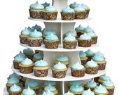 5 Tier Round Cupcake Tower Stand-Reusable and Adjustable - Holds 70-90 Cupcakes - Perfect for Weddings, Birthdays, Holidays or any Event
