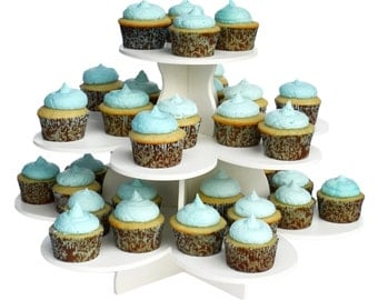 3 Tier Flower Cupcake Tower Stand-Reusable and Adjustable - Holds 38-48 Cupcakes - Perfect for Weddings, Birthdays, Holidays or any Event