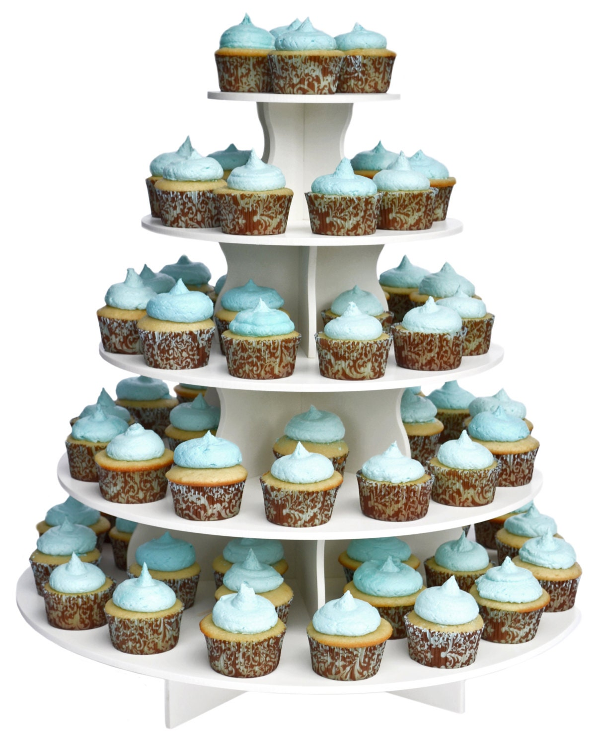 5 Tier Round Cupcake Tower Stand Reusable And Adjustable