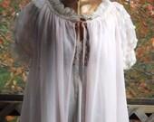 Sheer Robe, Vintage 1950s Babydoll Peignoir, Womens Long Flowing Short Sleeve Pink Princess Robe